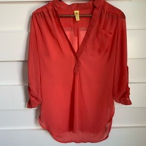 (NWOT) Bee Stitched // Sheer Coral Blouse